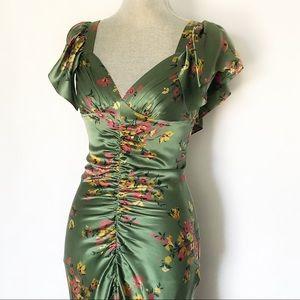 Betsey Johnson Silk Floral Green Party Dress SZ 4